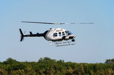 Police Helicopter, Sky, Flying, Tree Line
