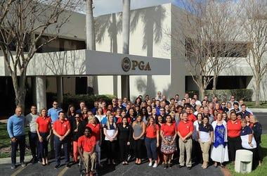 PALM BEACH GARDENS, FL - FEBRUARY 20: The PGA of America Staff poses at PGA Headquarters on February 20, 2018 in Palm Beach Gardens, Florida.