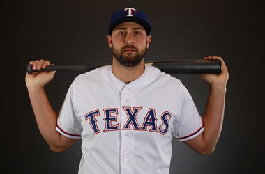 Joey Gallo #13 of the Texas Rangers poses during Texas Rangers Photo Day at the Surprise Stadium training facility on February 21, 2018 in Surprise, Arizona.