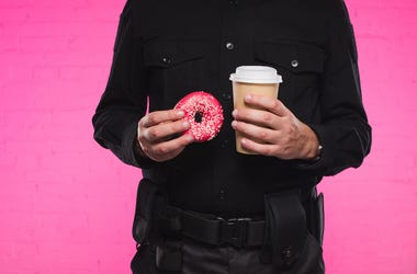 Police, Officer, Doughnut, Coffee, Pink Background