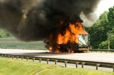 Truck Fire, Burning, Highway, Car, Fire