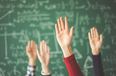 Hands Raised, Students, Classroom,Teacher, Class