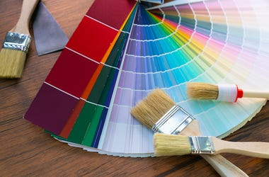 Paint, Swatches, Work Table, Decorator, Brushes, Colors