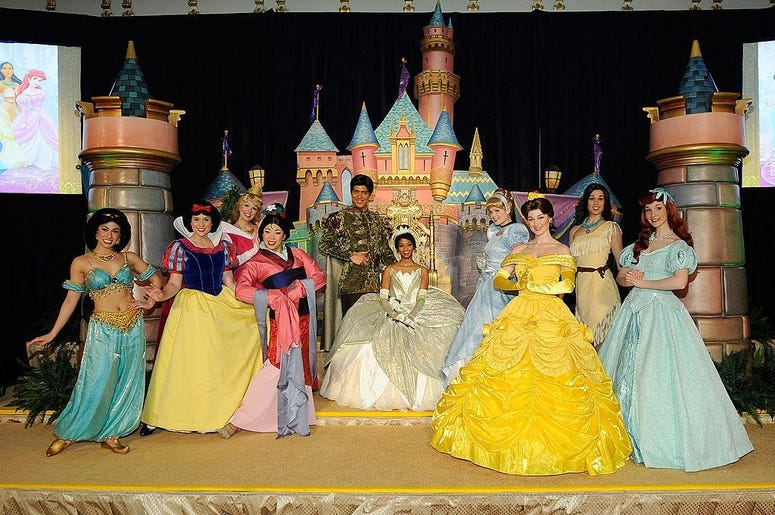 Disney Princess Royal Court at The New York Palace Hotel on March 14, 2010 in New York City. She is seen with people dressed as characters (L-R) Princess Jasmin, Snow White, Mulan, Aurora, Prince Naven, Cinderella, Princess Bell, Pocahantas