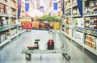 Supermarket, Shopping, Grocery Store, Shopping Cart, Full, Groceries