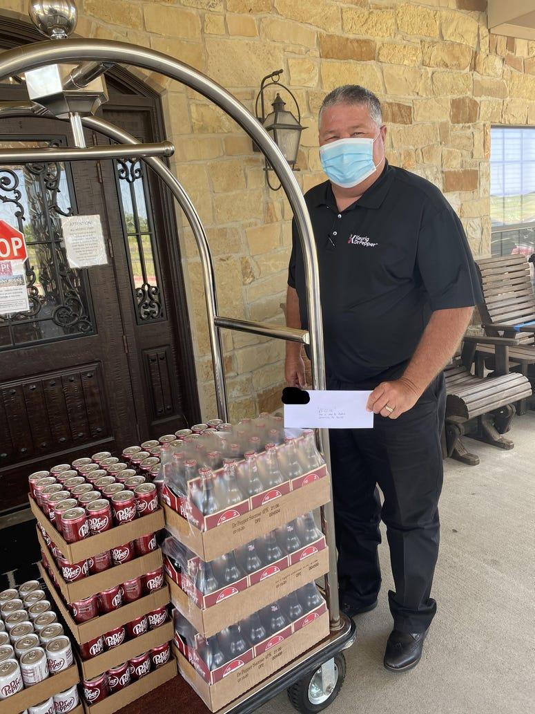 Dr. Pepper delivers 16 cases of drinks to Hillside Medical Lodge.