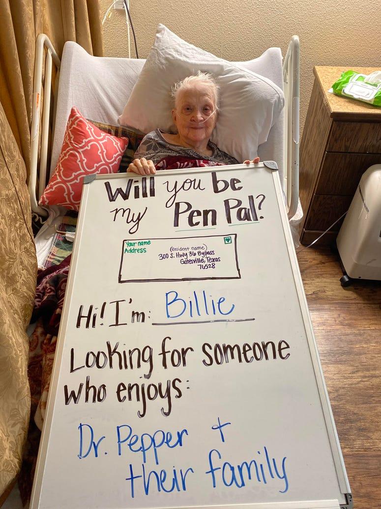 Miss Billie requesting pen pals at Hillside Medical Lodge in Gatesville, TX.