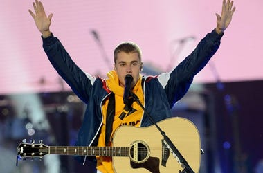 June 4, 2017; Manchester, England; Justin Bieber performs in this handout provided by 'One Love Manchester' benefit concert. Photo by Dave Hogan for One Love Manchester.