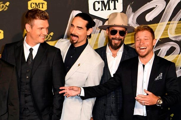 June 6, 2018; Nashville, TN, USA; Backstreet Boys on the red carpet prior to the CMT Music Awards at Bridgestone Arena.
