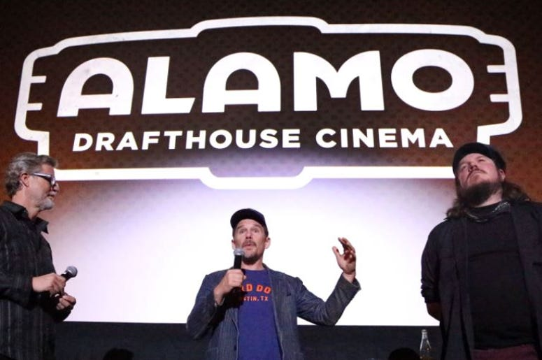 """Actor and director Ethan Hawke, center, talks to a sold-out audience who saw a screening of the movie """"Blaze"""""""