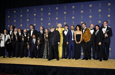 "Sep 17, 2018; Los Angeles, CA, USA; The cast and crew of ""Game of Thrones\"" pose with their awards for Drama Series in the photo room during the 70th Emmy Awards at the Microsoft Theater"