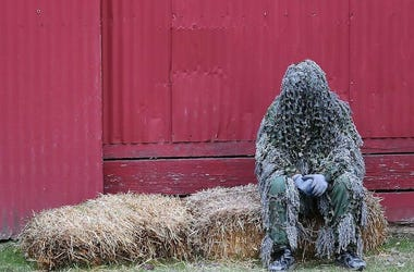 Ghillie Suit, Sitting, Barn, Hay Bale, Haunted Fairgrounds, 2019