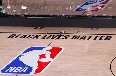 NBA Court, Black Lives Matter, Logo, Empty, Bench