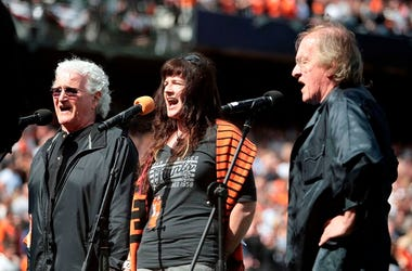 April 05, 2013; San Francisco, CA, USA; Jefferson Starship sings God Bless America during the seventh inning stretch between the San Francisco Giants and the St. Louis Cardinals at AT&T Park (minus retired Grace Slick and Marty Balin)