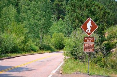 Bigfoot, Sasquatch, Road Sign, Crossing, Highway