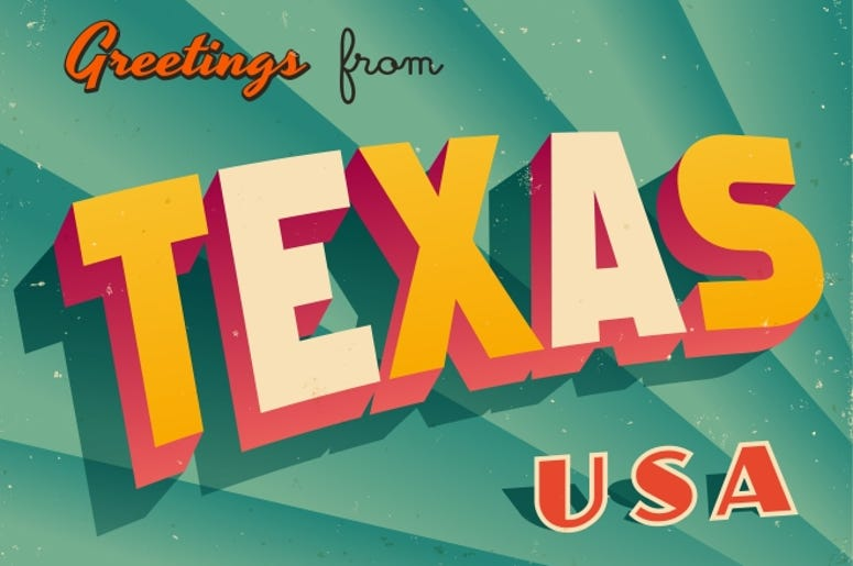 Vintage Touristic Greeting Card from Texas.