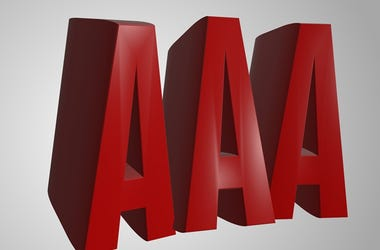 AAA 3d render word text