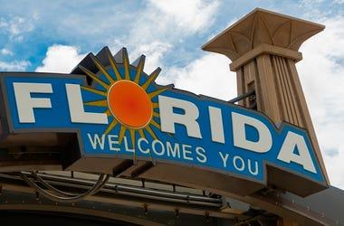 Florida Welcomes You Sign Southern USA Palm Trees