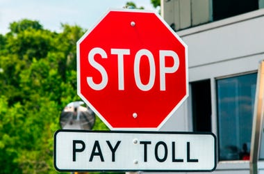 Road signs at a toll bridge in Texas