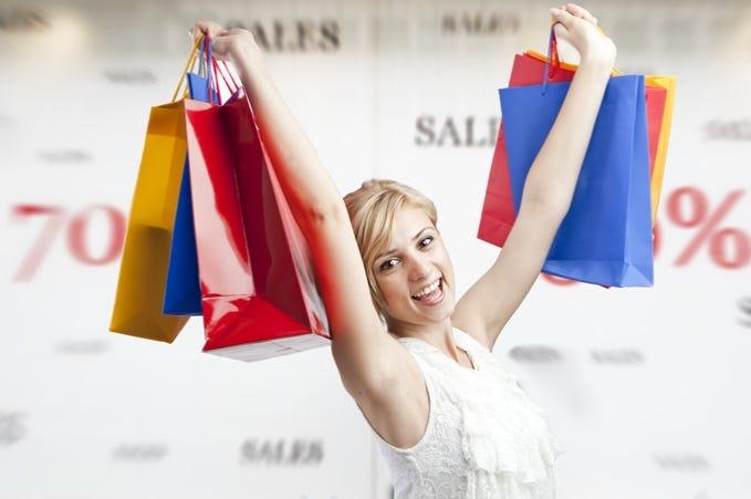 Woman shopping during sales season