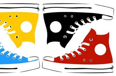 Vintage sneakers in pop art