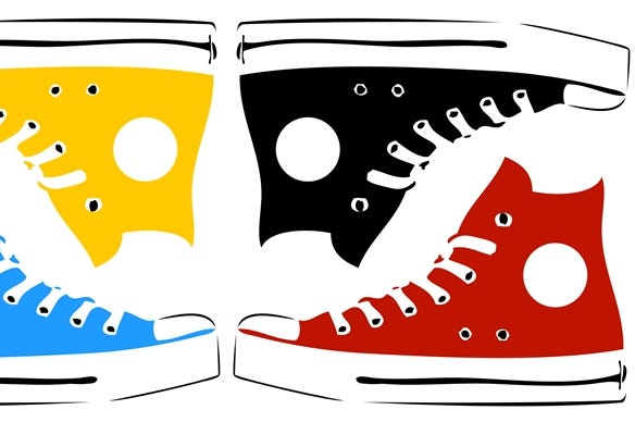 Vintage sneakers in pop art