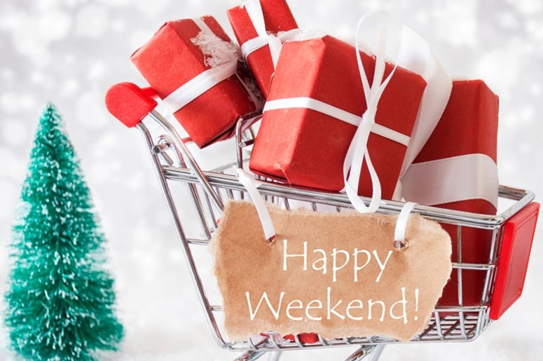 Trolly With Christmas Presents And Snow, Text Happy Weekend