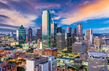 Dallas Texas Skyline. Dusk, scenic.
