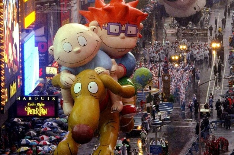 NEW YORK, NY., November 26 -- The Rugrats float makes its way through Times Square during the 72nd annual Macy's Thanksgiving Day Parade Thursday in New York. (NY)