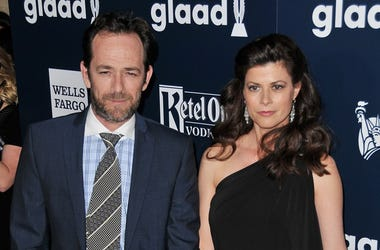 (L-R) Luke Perry and Wendy Madison Bauer arrive at the 28th Annual GLAAD Media Awards held at the Beverly Hilton in Beverly Hills, CA on Saturday, April 1, 201