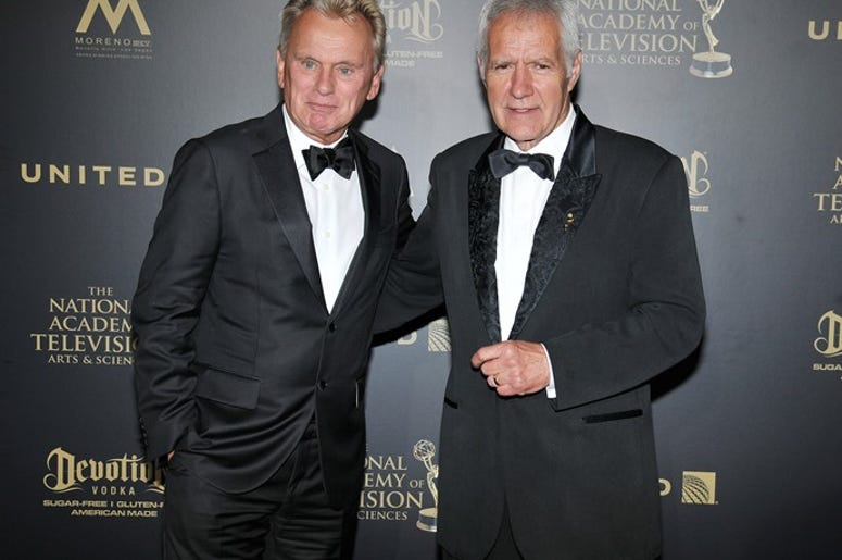 (L-R) Pat Sajak and Alex Trebek backstage at the 44th Annual Daytime Creative Arts Emmy Awards - Press Room held at the Pasadena Civic Center in Pasadena, CA on Friday, April 28, 2017