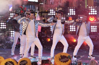 New Kids On The Block perform during New Year's Eve 2019 celebrations in Times Square, NewYork, NY, December 31, 2018