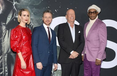 (L-R) Sarah Paulson, James McAvoy, Bruce Willis and Samuel L. Jackson attend the GLASS premiere at The SVA Theatre in New York, NY, January 15, 2019