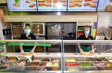 Subway, Counter, Employees, Masks, Protective Screens, 2020