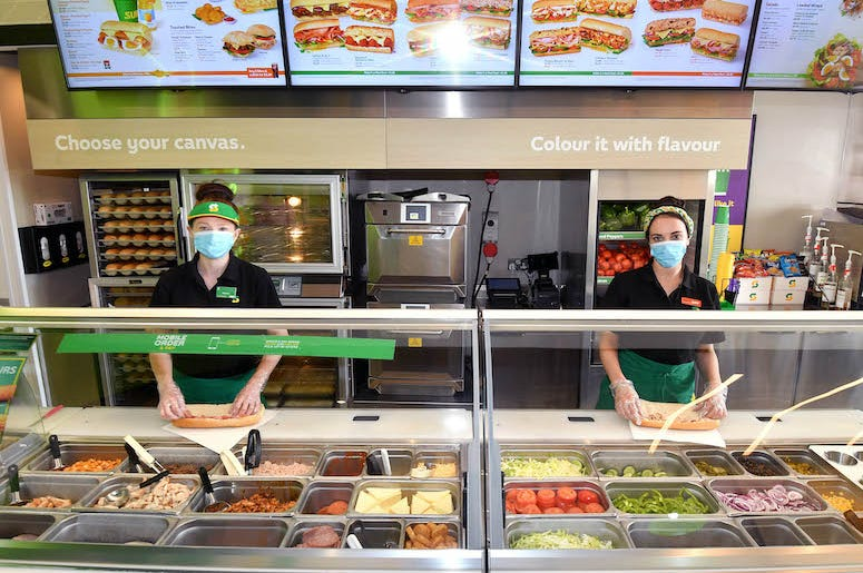 Subway, Counter, Employees, Masks, Protective Screens, 2020