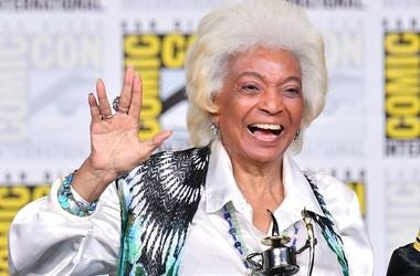 "SAN DIEGO, CA - JULY 19: Nichelle Nichols accepts an Inkpot Award onstage at the ""From The Bridge"" Panel during Comic-Con International 2018 at San Diego Convention Center on July 19, 2018 in San Diego, California."