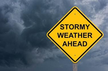 Stormy Weather Ahead Warning Sign