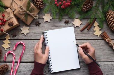 Christmas, List, Wish List, Wooden Table, Writing