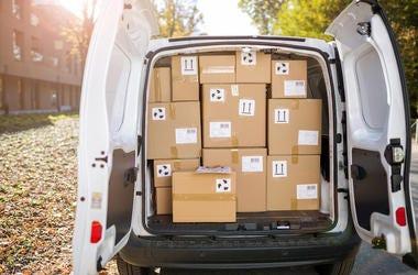 Delivery Truck, Van, Boxes, Parcels