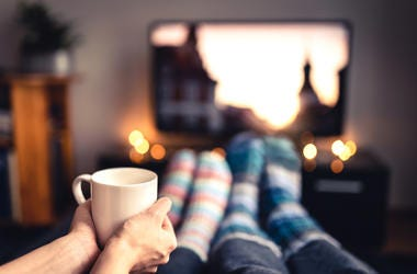 Couple, Couch, Mug, Socks, Television, Christmas Movies, Christmas