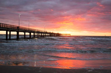 Beach, Bob Hall Pier, Padre Balli Park, Corpus Christi, Texas, Sunset, Water