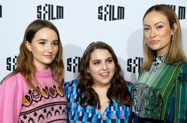 "SAN FRANCISCO, CA - APRIL 16: (L-R) Kaitlyn Dever, Beanie Feldstein and Olivia Wilde attend the red carpet premiere at the Castro Theatre of ""Booksmart"" at the 2019 San Francisco International Film Festival on April 16, 2019 in San Francisco, California."