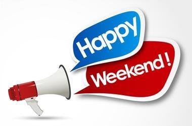 happy weekend word and megaphone