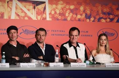 "CANNES, FRANCE - MAY 22: Brad Pitt, Leonardo DiCaprio, Quentin Tarantino and Margot Robbie attend the ""Once Upon A Time In Hollywood"" Press Conference during the 72nd annual Cannes Film Festival on May 22, 2019 in Cannes, France"