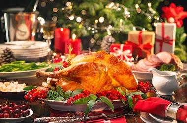 Christmas Dinner, Turkey, Meal, Christmas Tree, Burning Candles