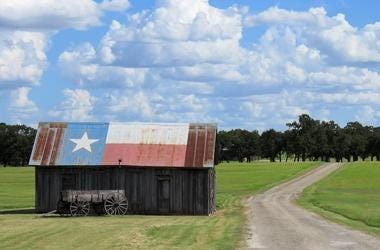 Texas, Rural Road, Country, Flag, Barn