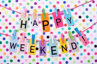 Happy Weekend with multicolored polka dot background