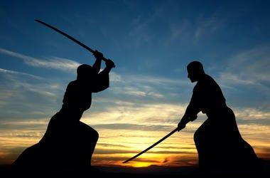 Martial Arts, Sword Fight, Samurai Swords, Silhouette, Sunset