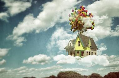 Flying House, Balloons, Sky, Up
