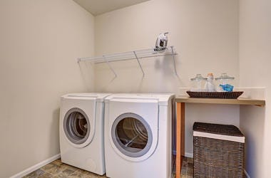 Laundry Room, White Appliances, Wicker Basket
